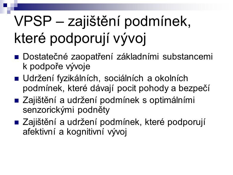 VPSP – zajištění podmínek, které podporují vývoj Dostatečné zaopatření základními substancemi k podpoře vývoje Udržení fyzikálních, sociálních a okoln
