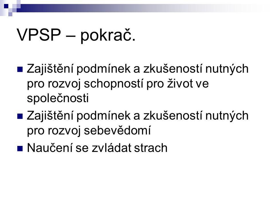 VPSP – pokrač. Zajištění podmínek a zkušeností nutných pro rozvoj schopností pro život ve společnosti Zajištění podmínek a zkušeností nutných pro rozv