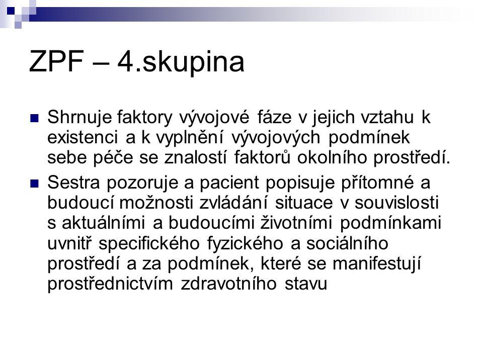 ZPF – 4.skupina Shrnuje faktory vývojové fáze v jejich vztahu k existenci a k vyplnění vývojových podmínek sebe péče se znalostí faktorů okolního pros