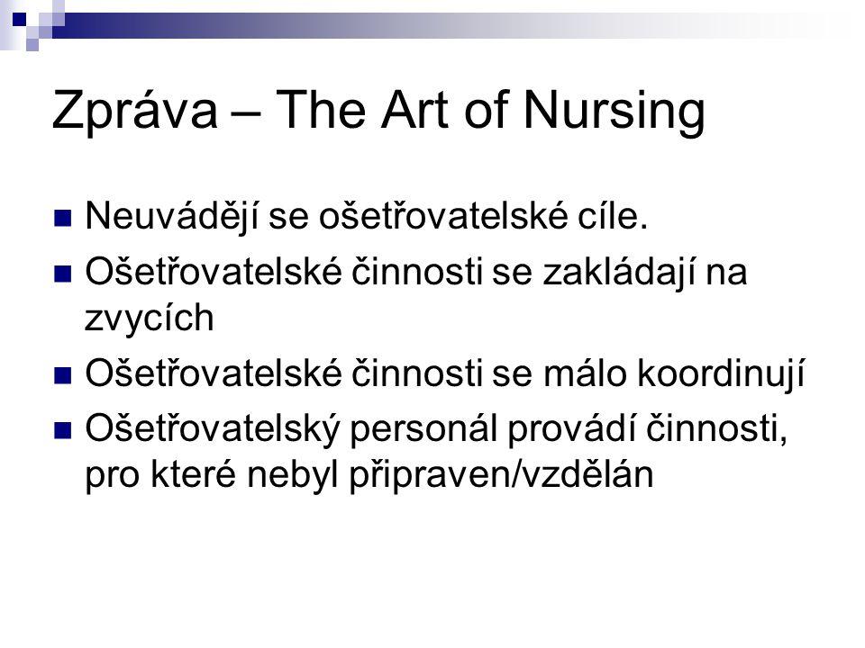 Zpráva – The Art of Nursing Neuvádějí se ošetřovatelské cíle. Ošetřovatelské činnosti se zakládají na zvycích Ošetřovatelské činnosti se málo koordinu