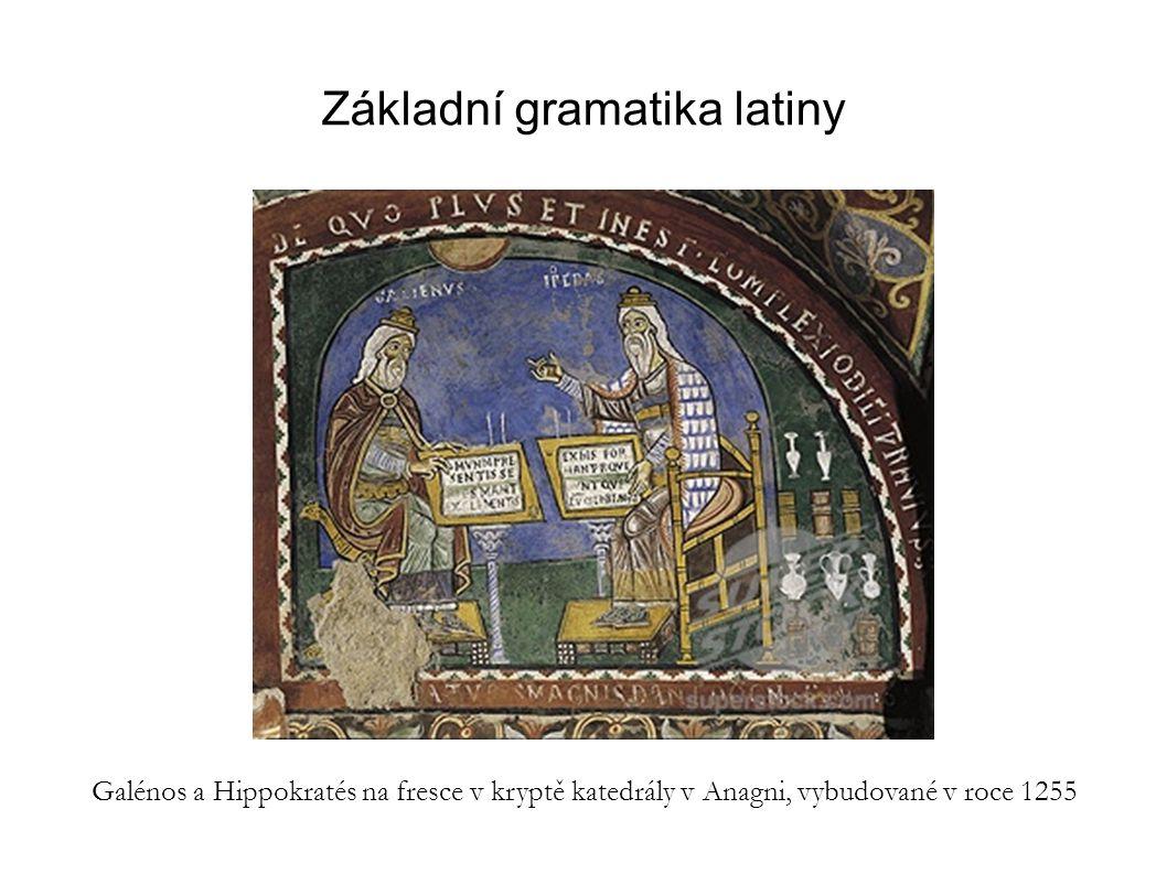 Základní gramatika latiny Galénos a Hippokratés na fresce v kryptě katedrály v Anagni, vybudované v roce 1255