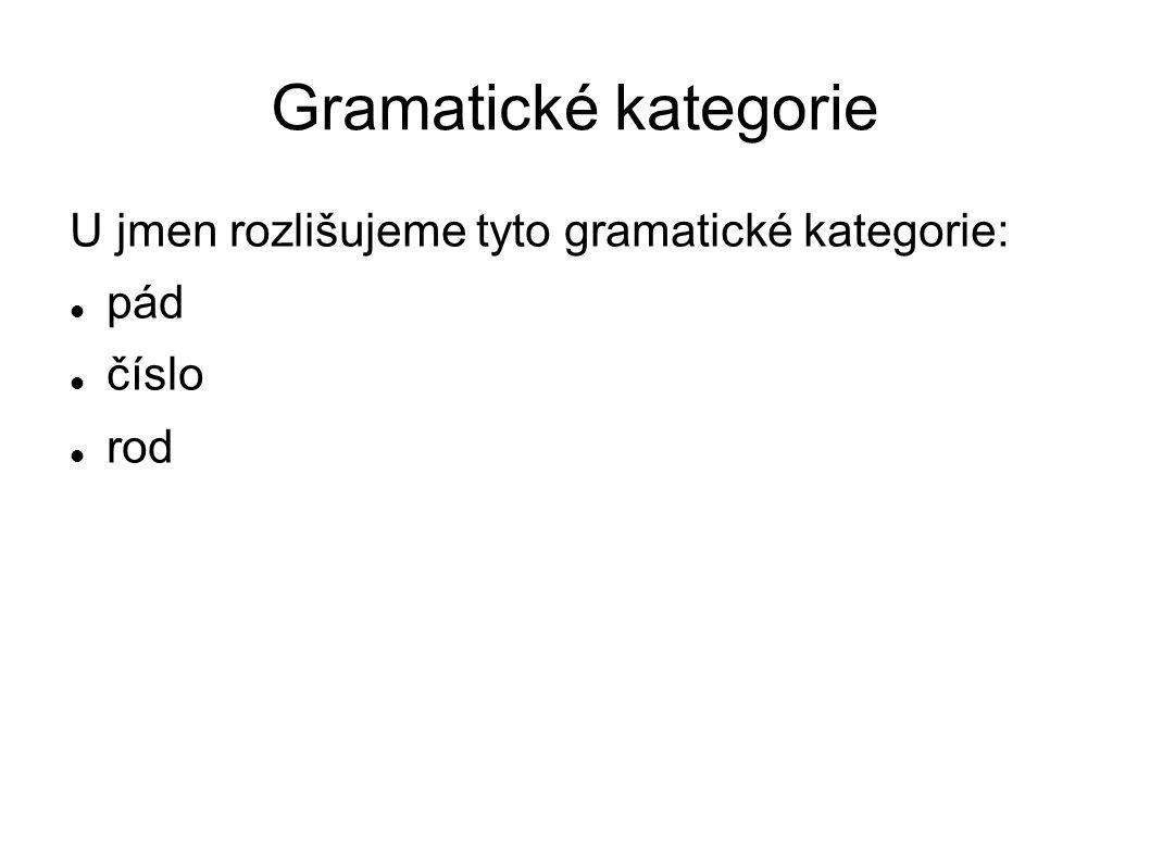 Gramatické kategorie U jmen rozlišujeme tyto gramatické kategorie: pád číslo rod