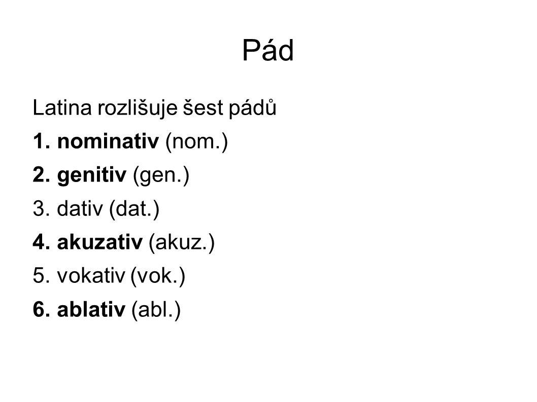 Pád Latina rozlišuje šest pádů 1. nominativ (nom.) 2. genitiv (gen.) 3. dativ (dat.) 4. akuzativ (akuz.) 5. vokativ (vok.) 6. ablativ (abl.)