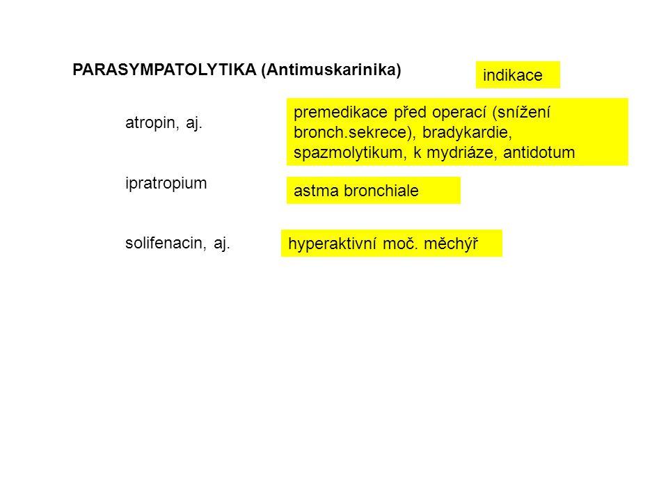 PARASYMPATOLYTIKA (Antimuskarinika) atropin, aj. ipratropium solifenacin, aj. hyperaktivní moč. měchýř astma bronchiale premedikace před operací (sníž