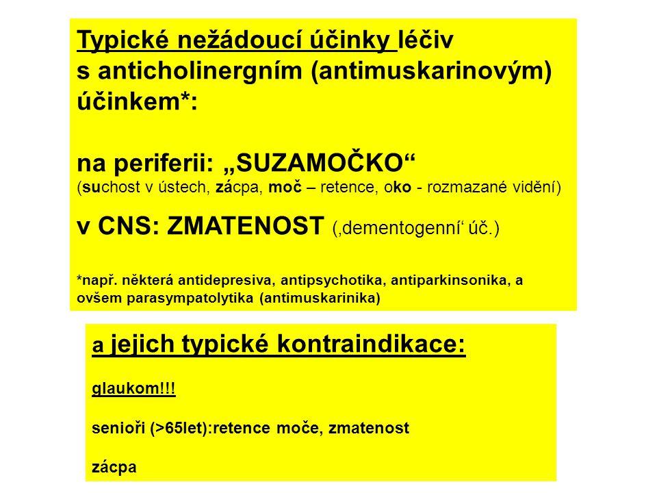 """Typické nežádoucí účinky léčiv s anticholinergním (antimuskarinovým) účinkem*: na periferii: """"SUZAMOČKO (suchost v ústech, zácpa, moč – retence, oko - rozmazané vidění) v CNS: ZMATENOST ('dementogenní' úč.) *např."""