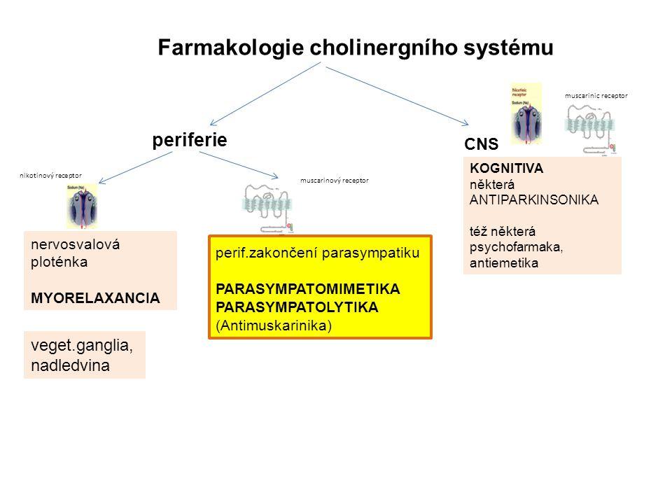 Farmakologie cholinergního systému periferie KOGNITIVA některá ANTIPARKINSONIKA též některá psychofarmaka, antiemetika nervosvalová ploténka MYORELAXANCIA veget.ganglia, nadledvina perif.zakončení parasympatiku PARASYMPATOMIMETIKA PARASYMPATOLYTIKA (Antimuskarinika) nikotinový receptor muscarinic receptor CNS muscarinový receptor