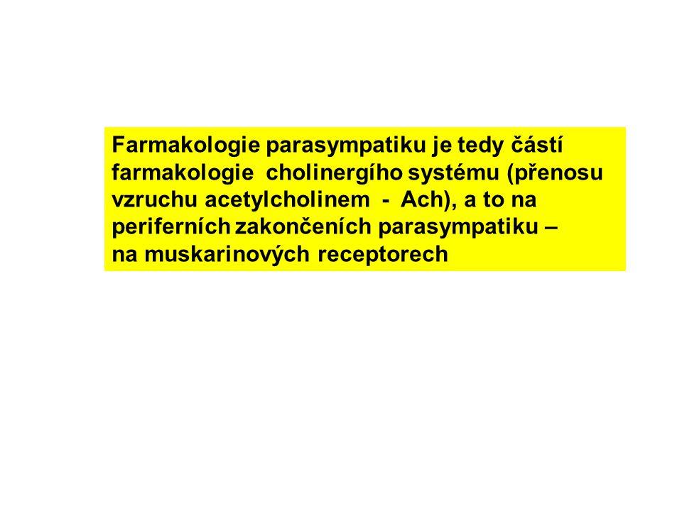 Farmakologie parasympatiku je tedy částí farmakologie cholinergího systému (přenosu vzruchu acetylcholinem - Ach), a to na periferních zakončeních parasympatiku – na muskarinových receptorech