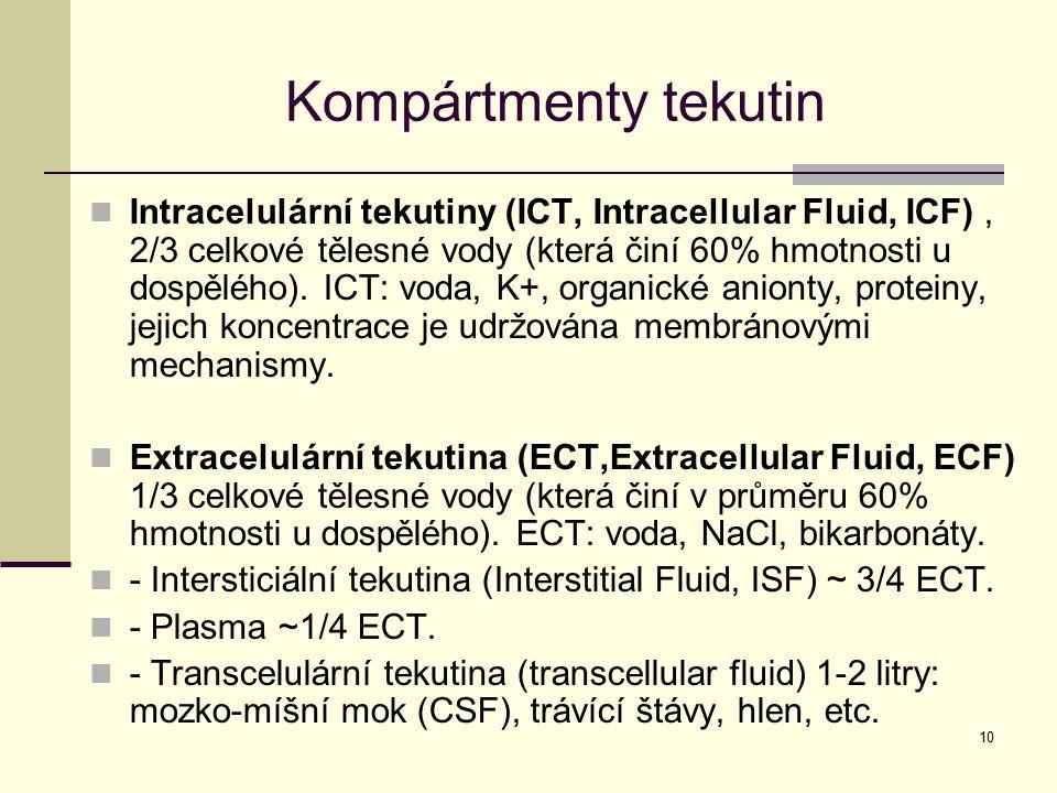 10 Kompártmenty tekutin Intracelulární tekutiny (ICT, Intracellular Fluid, ICF), 2/3 celkové tělesné vody (která činí 60% hmotnosti u dospělého). ICT: