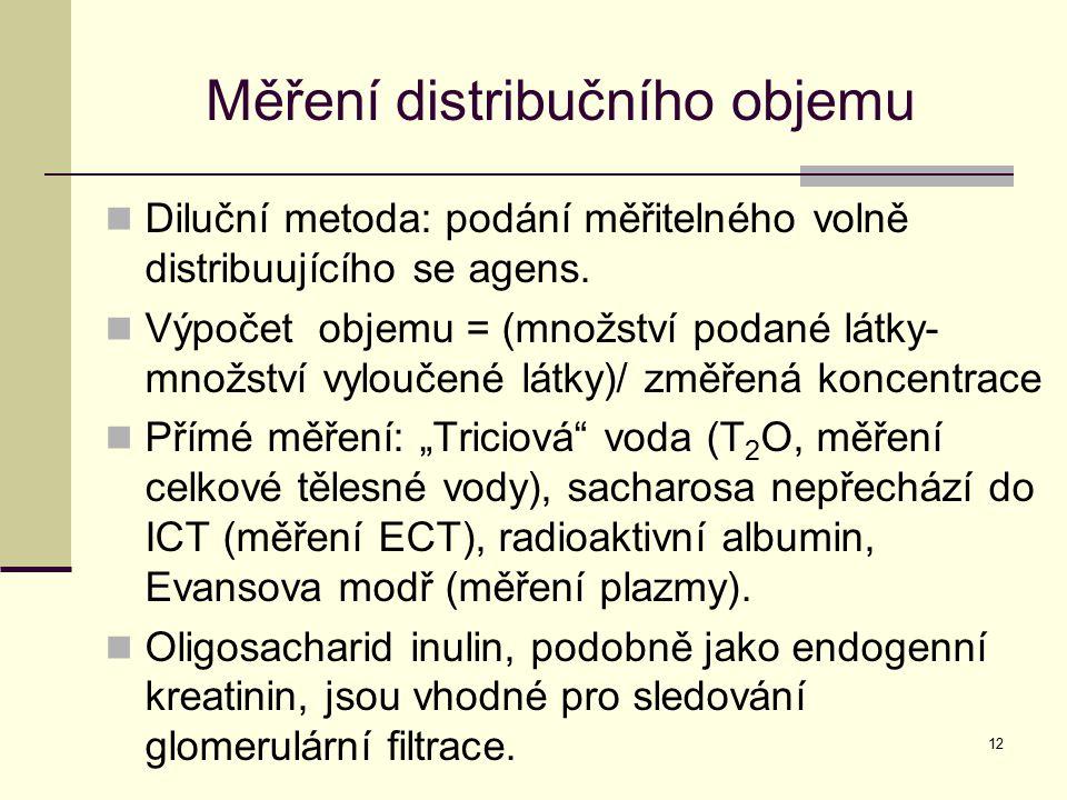 12 Měření distribučního objemu Diluční metoda: podání měřitelného volně distribuujícího se agens. Výpočet objemu = (množství podané látky- množství vy