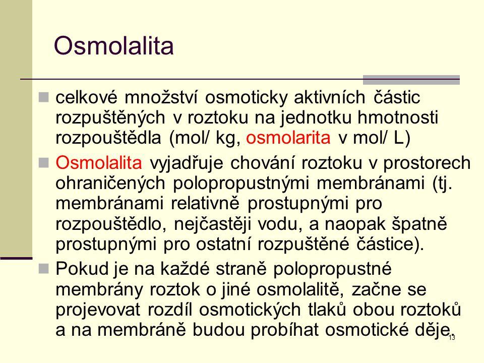 13 Osmolalita celkové množství osmoticky aktivních částic rozpuštěných v roztoku na jednotku hmotnosti rozpouštědla (mol/ kg, osmolarita v mol/ L) Osm