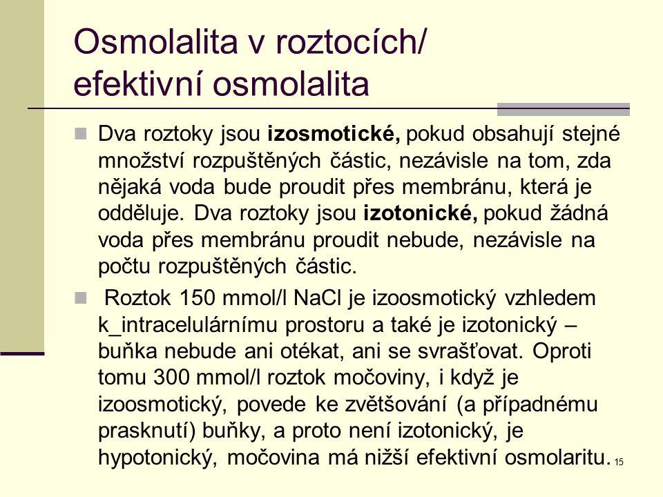 15 Osmolalita v roztocích/ efektivní osmolalita Dva roztoky jsou izosmotické, pokud obsahují stejné množství rozpuštěných částic, nezávisle na tom, zd