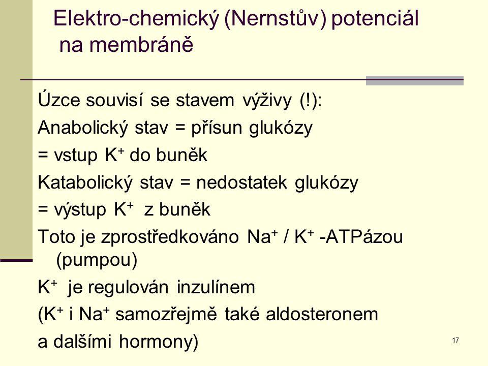 17 Úzce souvisí se stavem výživy (!): Anabolický stav = přísun glukózy = vstup K + do buněk Katabolický stav = nedostatek glukózy = výstup K + z buněk