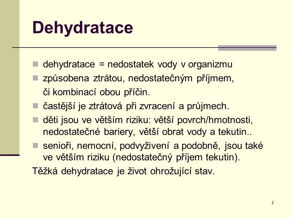 3 Etiologie Ztrátové dehydratace (močí, stolicí, kůží): Zvracení a průjem Polyurie (diabetická či po diureticích) Zvýšené pocení (přehřátí organizmu, sportovní výkony) Horečnaté stavy Příjmové dehydratace: Nausea (poléková, onemocnění gastrointestinálního traktu =GIT) Anorexie (bývá nejenom mentální, je při nádorových onemocněních, u seniorů) Mucositis, gingivitis, oropharyngitis (infekční či toxické etiologie, např.