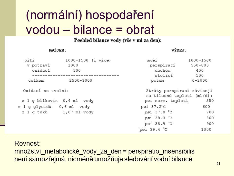 21 (normální) hospodaření vodou – bilance = obrat Rovnost: množství_metabolické_vody_za_den = perspiratio_insensibilis není samozřejmá, nicméně umožňu