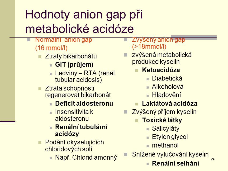 24 Hodnoty anion gap při metabolické acidóze Normální anion gap (16 mmol/l) Ztráty bikarbonátu GIT (průjem) Ledviny – RTA (renal tubular acidosis) Ztr