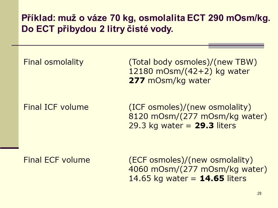 28 Final osmolality(Total body osmoles)/(new TBW) 12180 mOsm/(42+2) kg water 277 mOsm/kg water Final ICF volume(ICF osmoles)/(new osmolality) 8120 mOs