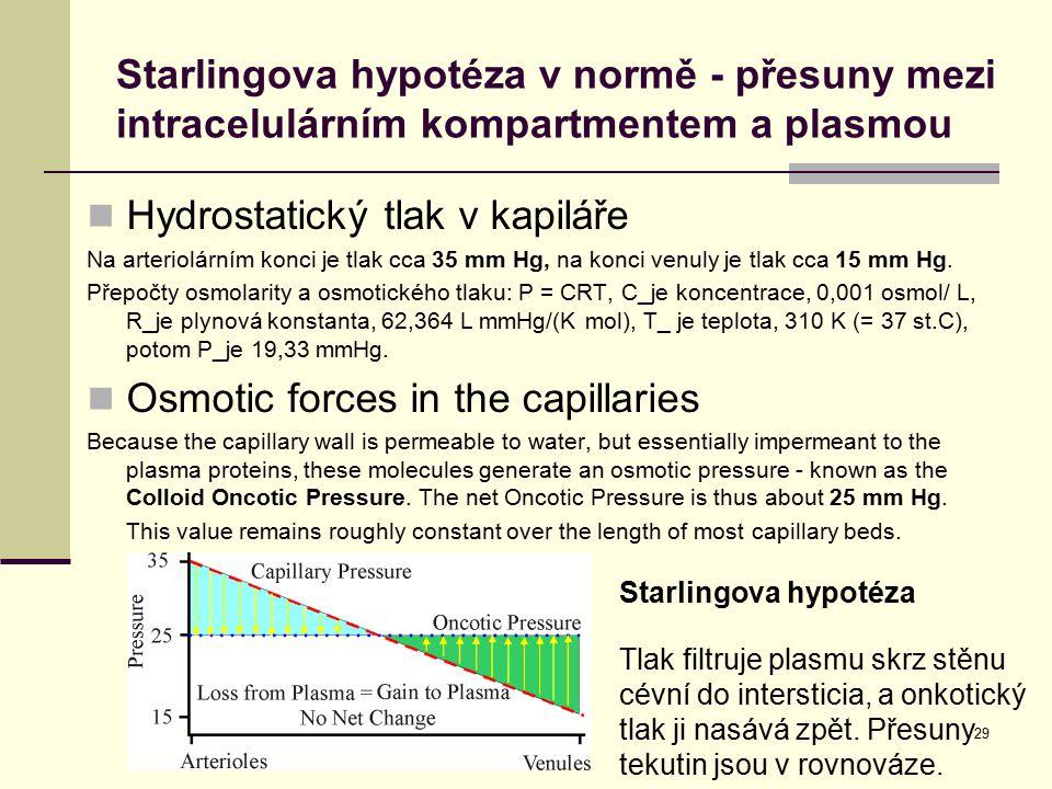 29 Starlingova hypotéza v normě - přesuny mezi intracelulárním kompartmentem a plasmou Hydrostatický tlak v kapiláře Na arteriolárním konci je tlak cc