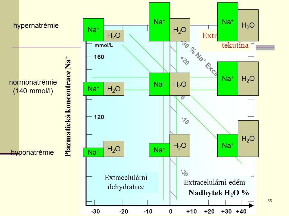 36 Extracelulární tekutina Na + H2OH2O H2OH2O H2OH2O H2OH2O H2OH2O H2OH2O H2OH2O H2OH2O H2OH2O Plazmatická koncentrace Na + Extracelulární dehydratace