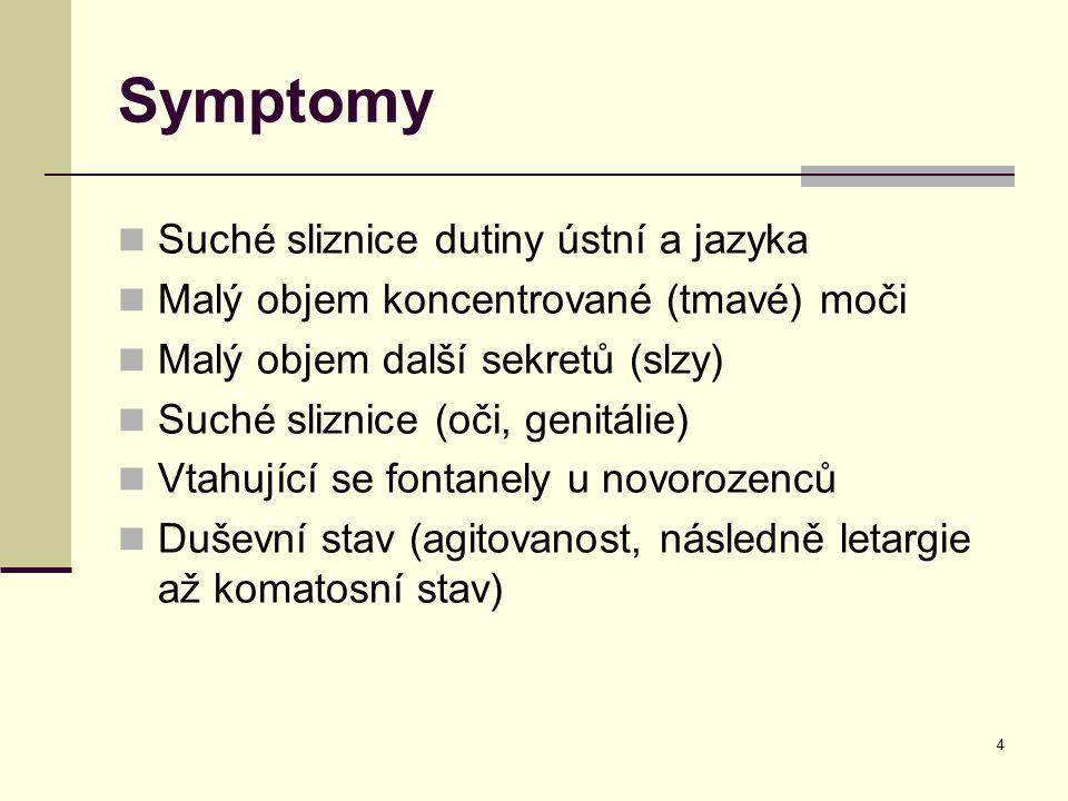 4 Symptomy Suché sliznice dutiny ústní a jazyka Malý objem koncentrované (tmavé) moči Malý objem další sekretů (slzy) Suché sliznice (oči, genitálie)