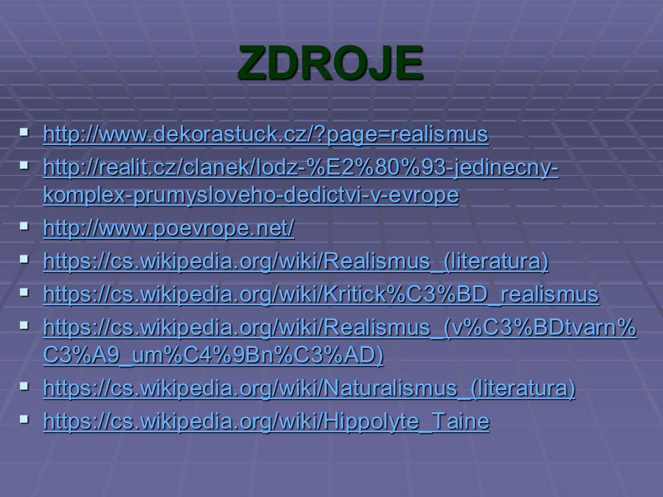 ZDROJE  http://www.dekorastuck.cz/?page=realismus http://www.dekorastuck.cz/?page=realismus  http://realit.cz/clanek/lodz-%E2%80%93-jedinecny- kompl