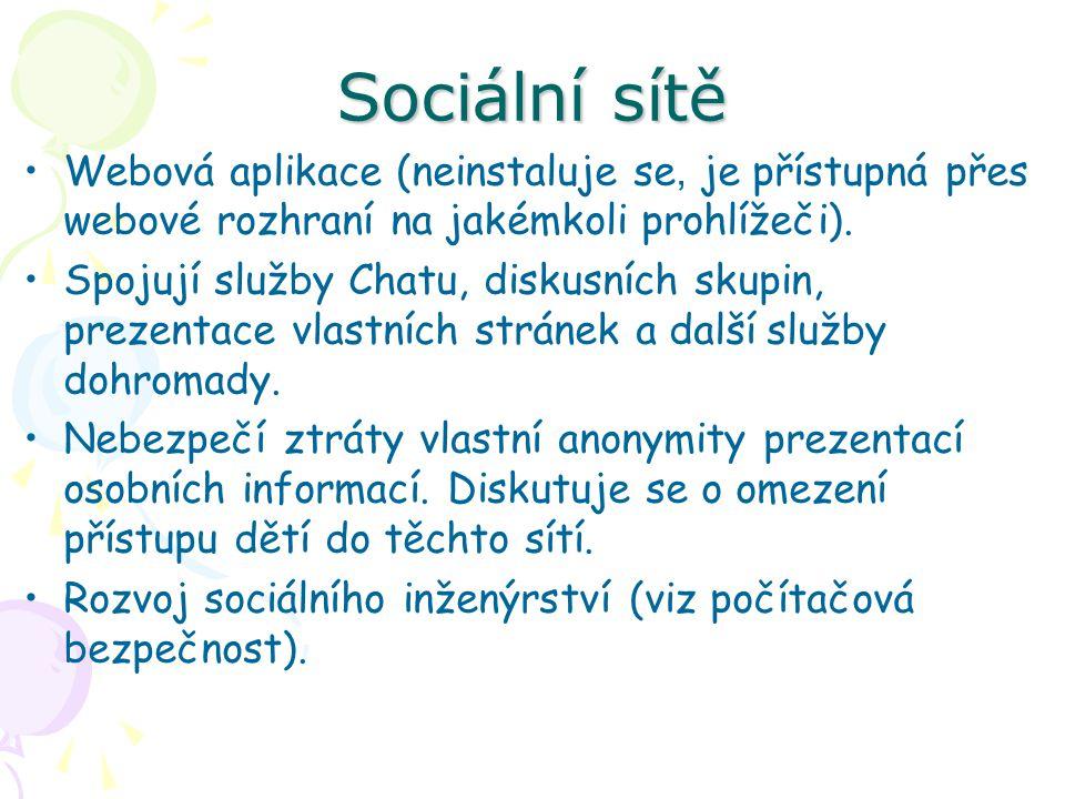 Sociální sítě Webová aplikace (neinstaluje se, je přístupná přes webové rozhraní na jakémkoli prohlížeči).