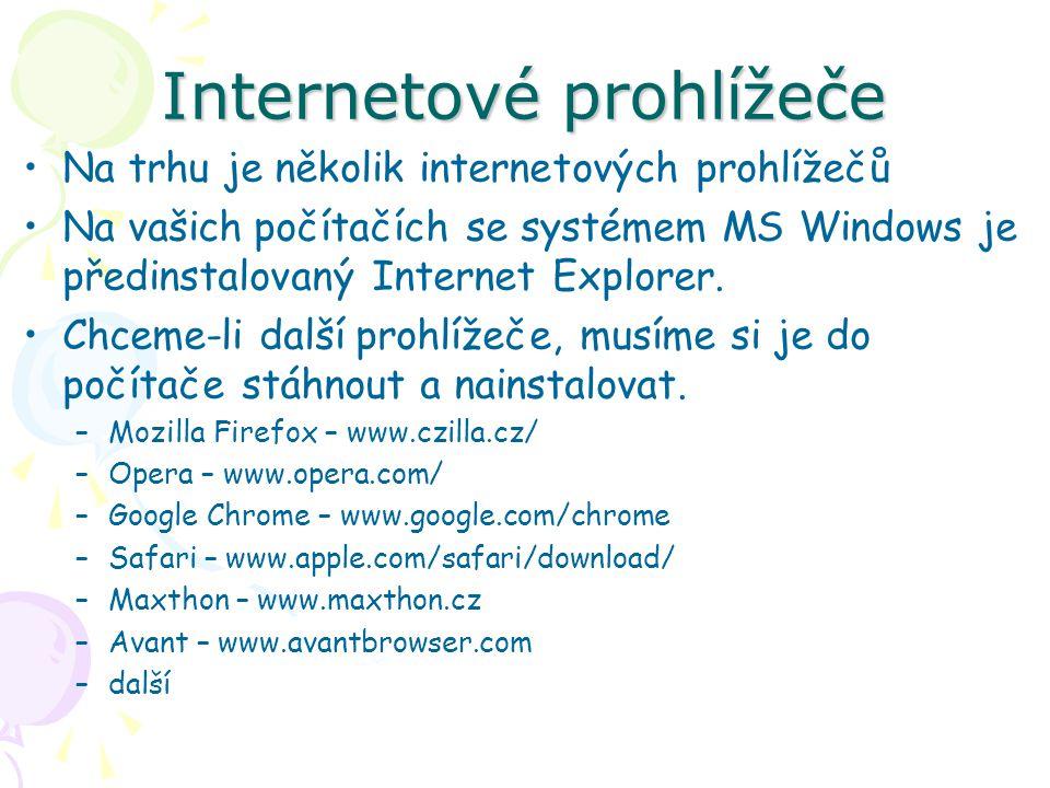 Internetové prohlížeče Na trhu je několik internetových prohlížečů Na vašich počítačích se systémem MS Windows je předinstalovaný Internet Explorer.