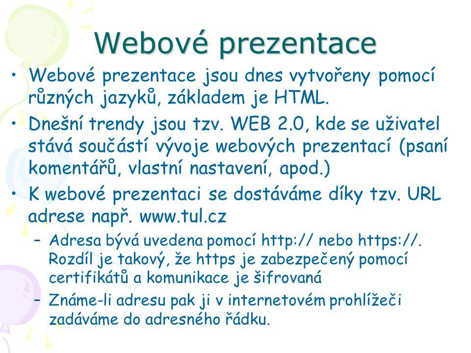 Webové prezentace Webové prezentace jsou dnes vytvořeny pomocí různých jazyků, základem je HTML.