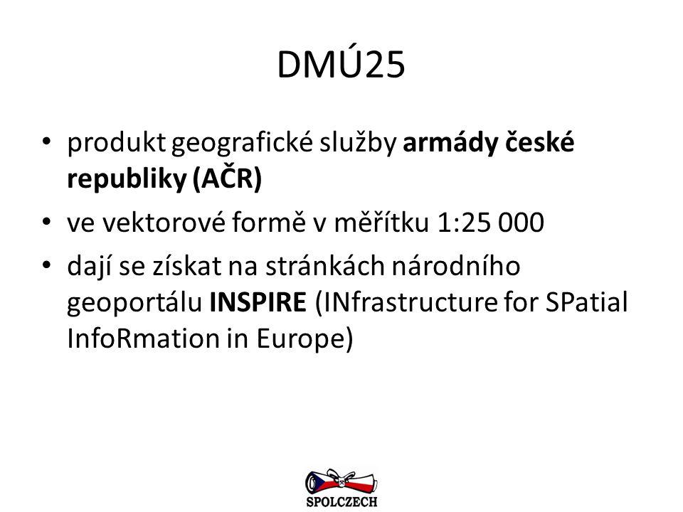 DMÚ25 produkt geografické služby armády české republiky (AČR) ve vektorové formě v měřítku 1:25 000 dají se získat na stránkách národního geoportálu I