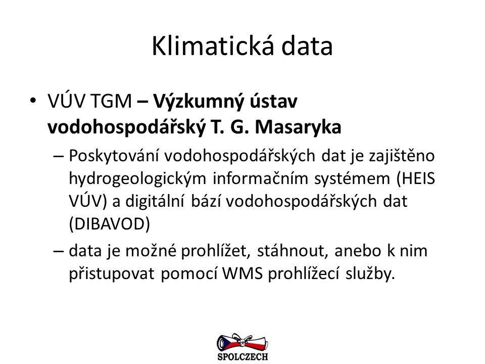 Klimatická data VÚV TGM – Výzkumný ústav vodohospodářský T. G. Masaryka – Poskytování vodohospodářských dat je zajištěno hydrogeologickým informačním