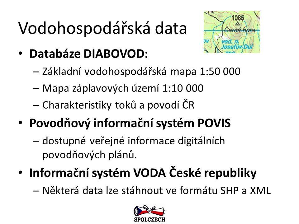 Vodohospodářská data Databáze DIABOVOD: – Základní vodohospodářská mapa 1:50 000 – Mapa záplavových území 1:10 000 – Charakteristiky toků a povodí ČR