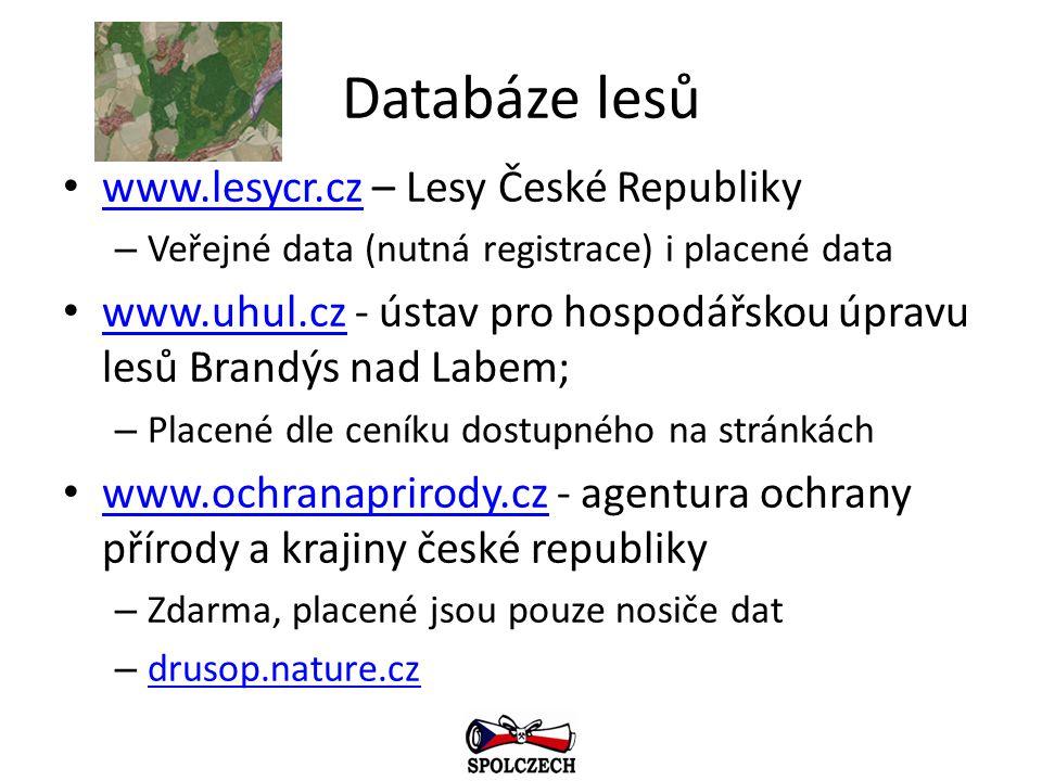Databáze lesů www.lesycr.cz – Lesy České Republiky www.lesycr.cz – Veřejné data (nutná registrace) i placené data www.uhul.cz - ústav pro hospodářskou