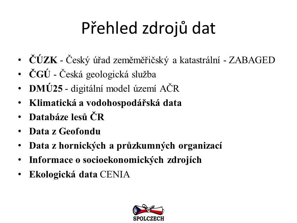 Přehled zdrojů dat ČÚZK - Český úřad zeměměřičský a katastrální - ZABAGED ČGÚ - Česká geologická služba DMÚ25 - digitální model území AČR Klimatická a