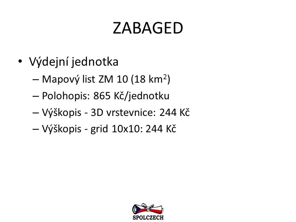 ZABAGED Výdejní jednotka – Mapový list ZM 10 (18 km 2 ) – Polohopis: 865 Kč/jednotku – Výškopis - 3D vrstevnice: 244 Kč – Výškopis - grid 10x10: 244 K