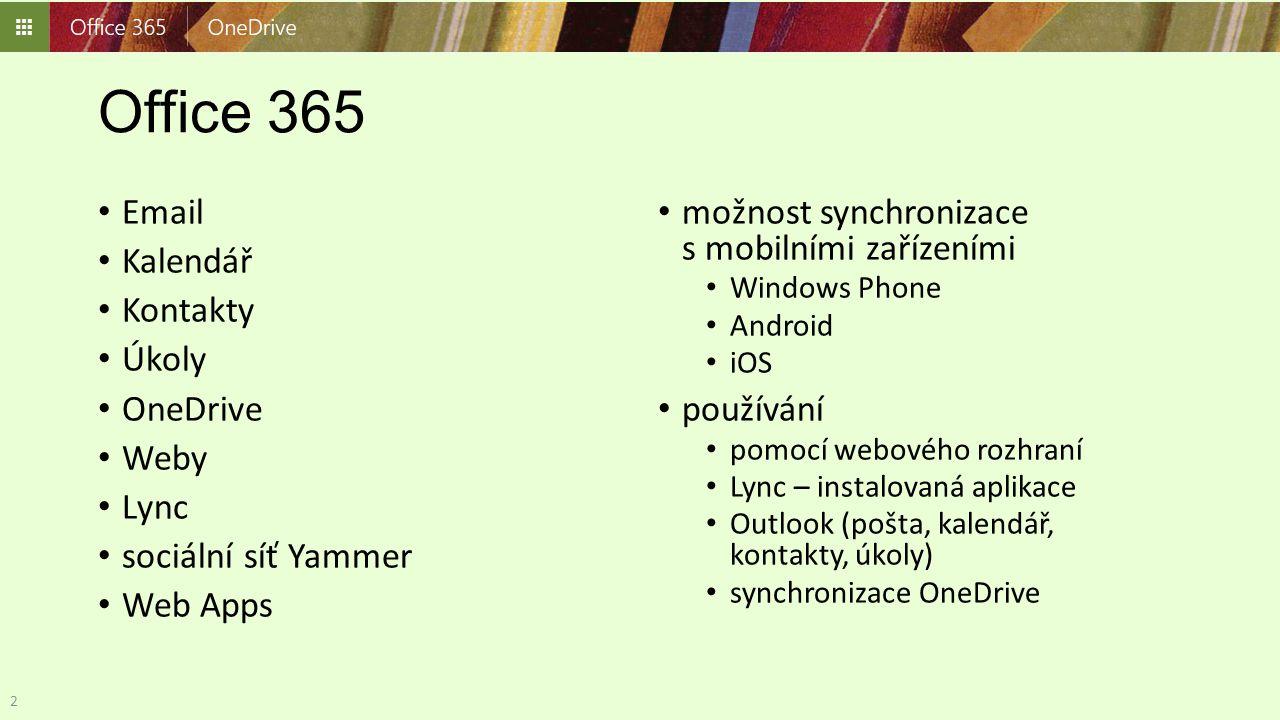 Office 365 Email Kalendář Kontakty Úkoly OneDrive Weby Lync sociální síť Yammer Web Apps možnost synchronizace s mobilními zařízeními Windows Phone An