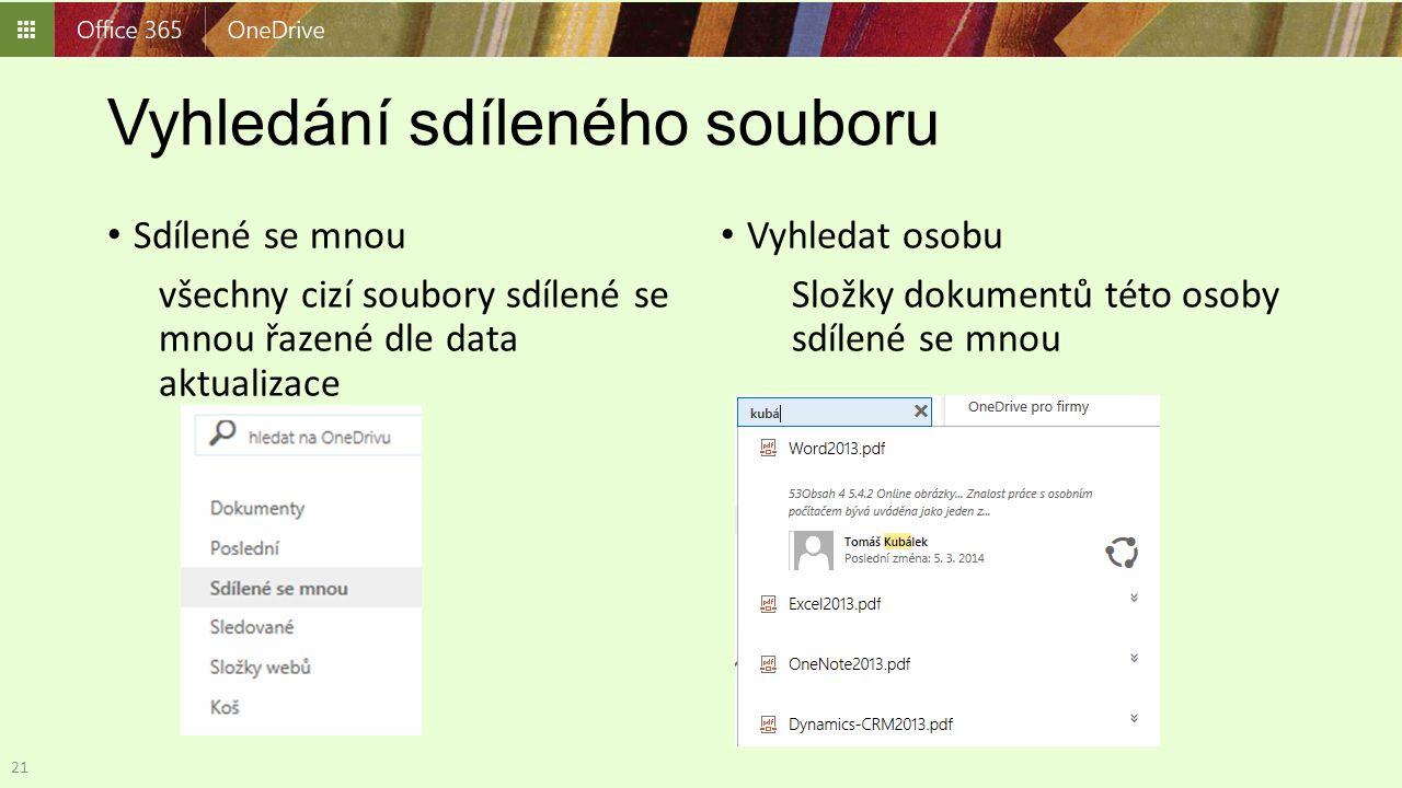 Vyhledání sdíleného souboru Sdílené se mnou všechny cizí soubory sdílené se mnou řazené dle data aktualizace Vyhledat osobu Složky dokumentů této osob