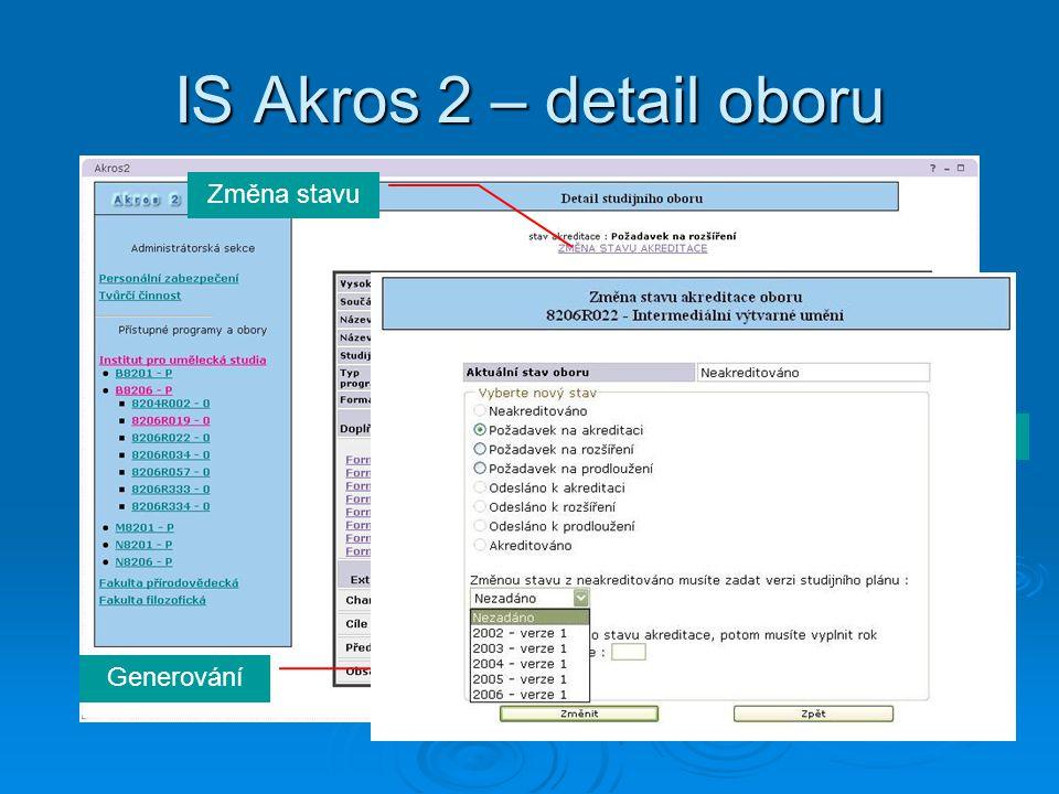 IS Akros 2 – detail oboru Změna stavu Externí dokumenty Generování Formuláře