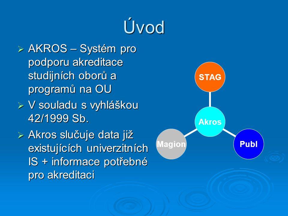 Úvod  AKROS – Systém pro podporu akreditace studijních oborů a programů na OU  V souladu s vyhláškou 42/1999 Sb.