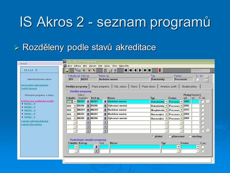 IS Akros 2 - seznam programů  Rozděleny podle stavů akreditace