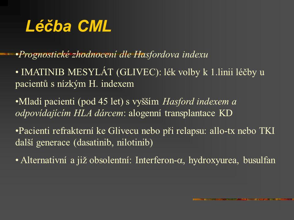 Léčba CML Prognostické zhodnocení dle Hasfordova indexu IMATINIB MESYLÁT (GLIVEC): lék volby k 1.linii léčby u pacientů s nízkým H. indexem Mladí paci
