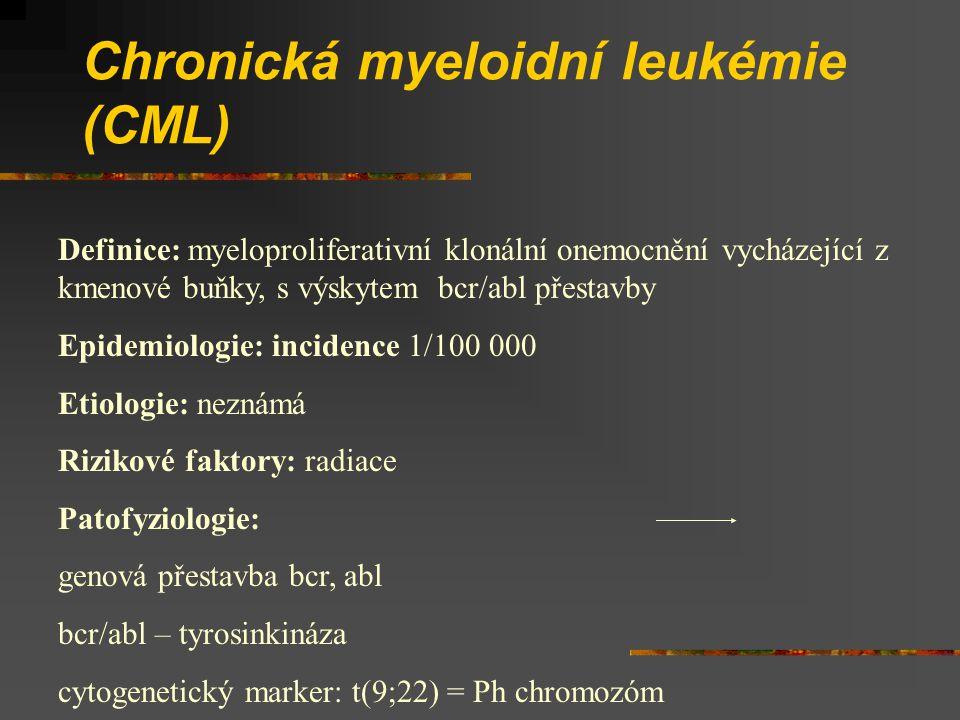 Chronická myeloidní leukémie (CML) Definice: myeloproliferativní klonální onemocnění vycházející z kmenové buňky, s výskytem bcr/abl přestavby Epidemi