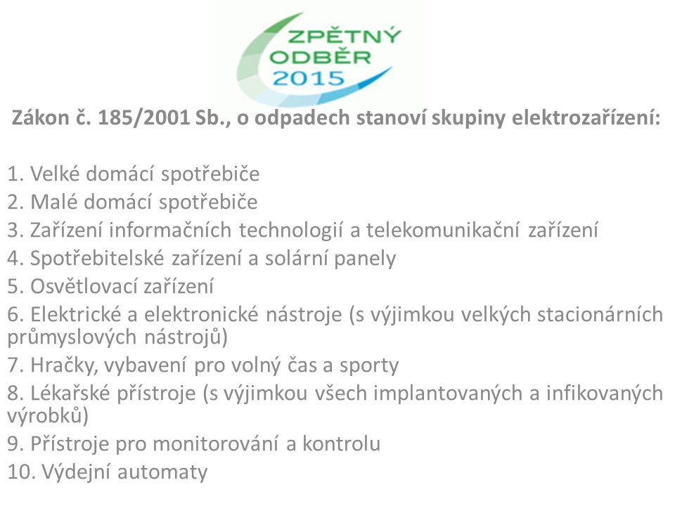 Zákon č. 185/2001 Sb., o odpadech stanoví skupiny elektrozařízení: 1.