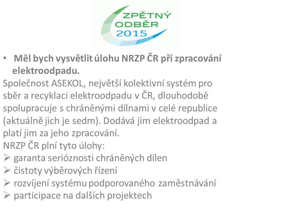 Měl bych vysvětlit úlohu NRZP ČR pří zpracování elektroodpadu.