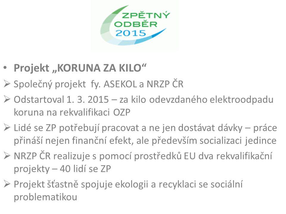 """Projekt """"KORUNA ZA KILO  Společný projekt fy. ASEKOL a NRZP ČR  Odstartoval 1."""