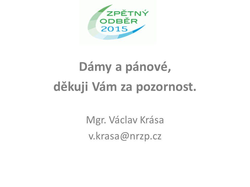Dámy a pánové, děkuji Vám za pozornost. Mgr. Václav Krása v.krasa@nrzp.cz