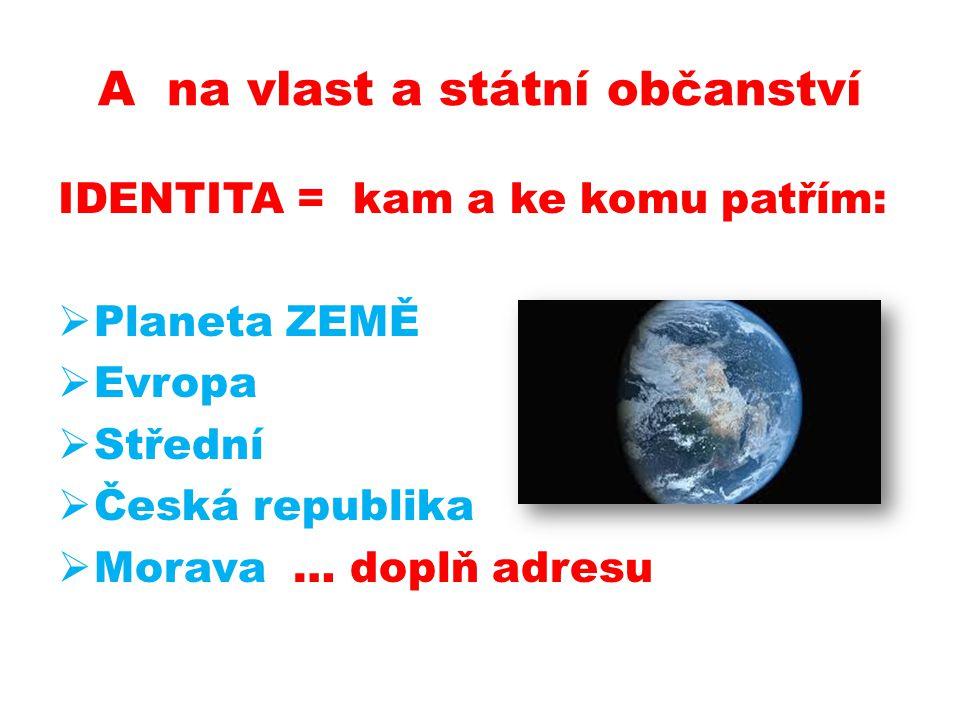 A na vlast a státní občanství IDENTITA = kam a ke komu patřím:  Planeta ZEMĚ  Evropa  Střední  Česká republika  Morava … doplň adresu