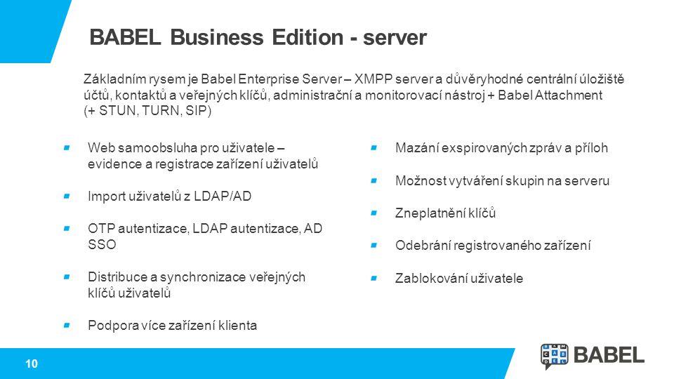 BABEL Business Edition - server Web samoobsluha pro uživatele – evidence a registrace zařízení uživatelů Import uživatelů z LDAP/AD OTP autentizace, L
