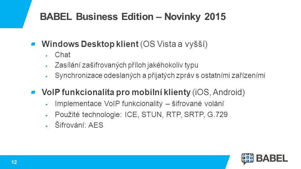 BABEL Business Edition – Novinky 2015 Windows Desktop klient (OS Vista a vyšší) Chat Zasílání zašifrovaných příloh jakéhokoliv typu Synchronizace odes