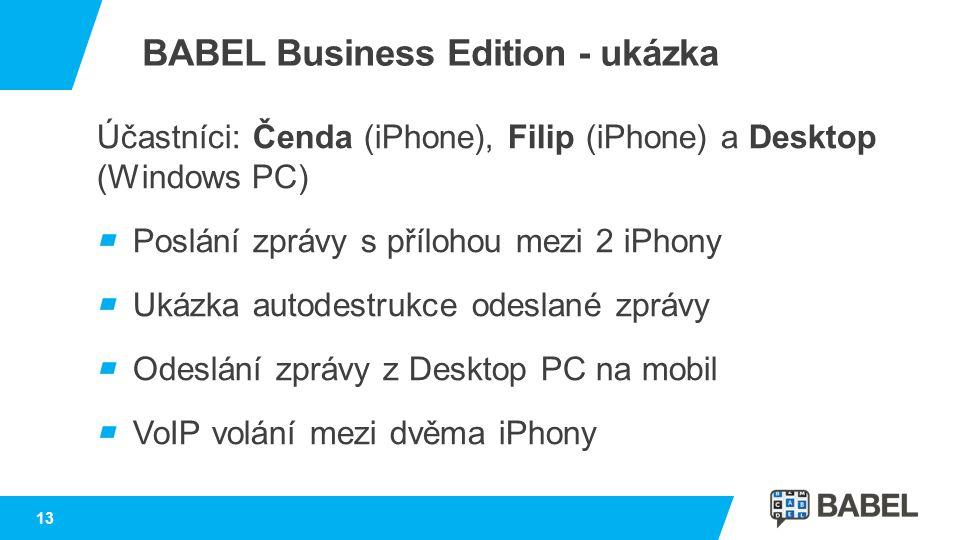 Účastníci: Čenda (iPhone), Filip (iPhone) a Desktop (Windows PC) Poslání zprávy s přílohou mezi 2 iPhony Ukázka autodestrukce odeslané zprávy Odeslání