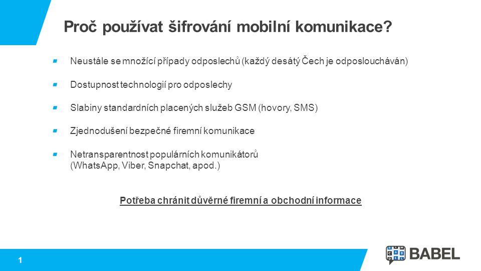 1 Proč používat šifrování mobilní komunikace? Neustále se množící případy odposlechů (každý desátý Čech je odposloucháván) Dostupnost technologií pro