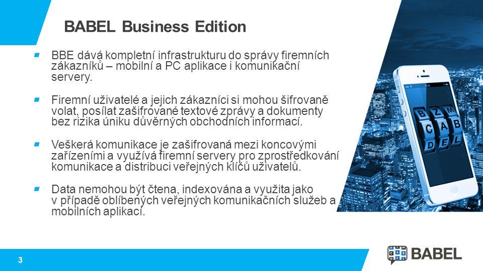 3 BABEL Business Edition BBE dává kompletní infrastrukturu do správy firemních zákazníků – mobilní a PC aplikace i komunikační servery. Firemní uživat